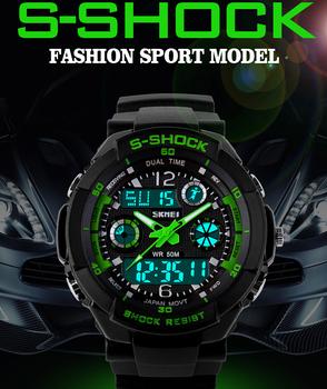 Мужские спортивные часы от бренда SKMEI, Уличные парадные наручные часы, Мужские часы с 2 временными зонами, Цифровые кварцевые светодиодные военные часы для ныряния