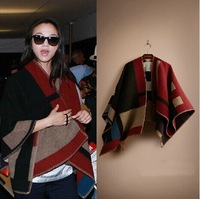 European and American big fight color checkered blanket cape cloak catwalk ladies thick winter scarf shawl