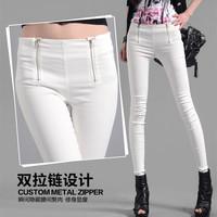 women's autumn stretch slim waisted fashion double zipper pencil pants female backing nine pants leggings black and white