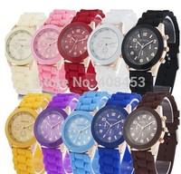 20pcs/lot geneva watch unisex quartz relogio watch 15colors women ladies female wristwatches sports watches Wholesale