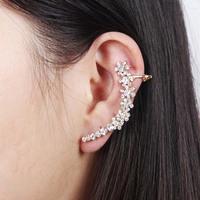 2014 New Gold Flower Women Rhinestone Ear Cuff Stud Earrings Ear Clips,Free Drop shipping