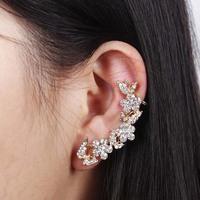 2014 New Women Butterfly Gold Flower Rhinestone Ear Cuff Stud Earrings Ear Clips,Free Drop shipping