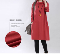 Fashion 2014 Winter Autumn Long sleeved Maternity Clothes, Linen Cotton Gravida dress, Turtleneck Pregnant  Women Dresses