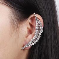 2014 New Hot Sale Silver Leaf Women Rhinestone Ear Cuff Stud Earrings,Free Drop shipping