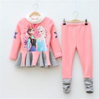 Retail+Free shipping New 2014 kids clothes sets,Fashion Autumn Frozen clothing set,Girls Elsa Anna clothes,Chirldren clothing