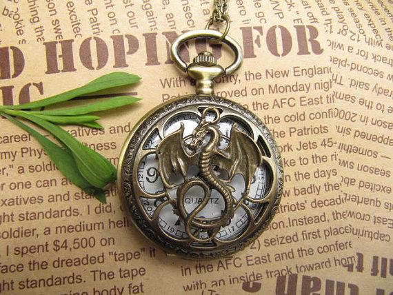 Copper Quartz Pocket Watch Necklace Chain Pendant dragon pocket watch pendant necklace with charm chain jewelry(China (Mainland))