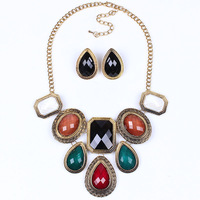 Europe and America brand retro necklace earrings  jewelry suit ancient gold plating resin accessories Clothing accessories