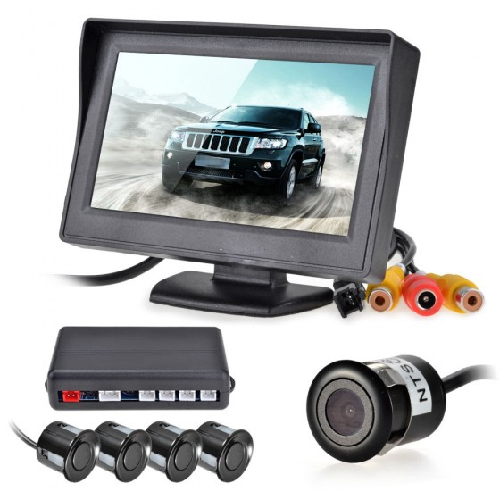 12V 4 Parking Sensors LCD Display Camera Video Car Reverse Backup Radar System Kit Buzzer Alarm(China (Mainland))