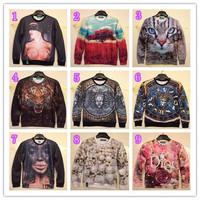 Free shipping men Funny print 3D O-Neck Sweaters sweatshirt hoodies Cool Men's Long sleeve Cotton sweatshirt hiphop hoodies
