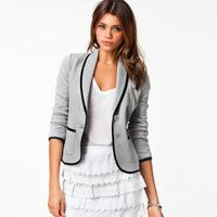 Spring Autumn Grey Long Sleeve Basic Jacket Women School Girl Coat Casual Cardigan Plaid Suits Casacos Femininos Free Ship J31