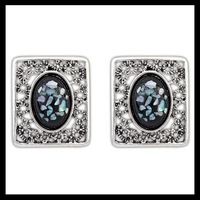 2014 Fashion Women Hollow Pattern Big Black Stone Stud Earrings Unique Design and Free Shipping #110046
