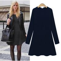 New 2014 Women Warm Fashion Autumn Winter Dress Cotton Cashmere Knee Length Casual Dresses Vestidos Plus Size Women Clothing