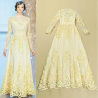 Top Grade New Fashion European American Retro Appliques  Flower Patch Design Long Sleeve Floor Length Formal Evening Dresses