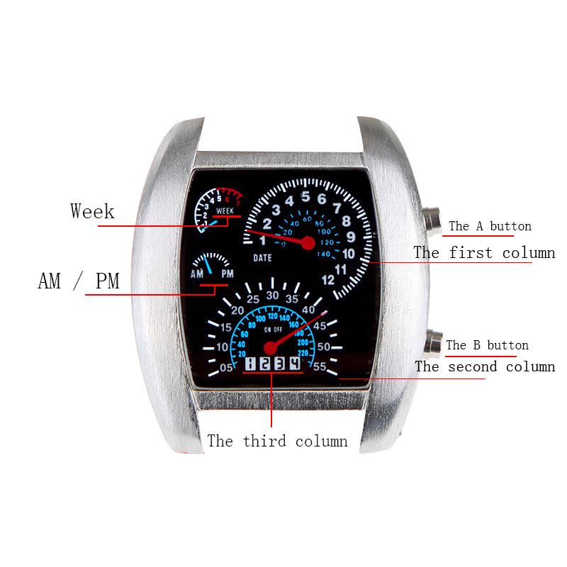 Cool Car Meter Dial Blue Flash Dot Matrix LED Racing Watch Unisex Blue(China (Mainland))
