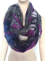 10pcs/lot Skull Feather Print Infinity Loop Scarf Snood Women's Accessories, Free Shipping