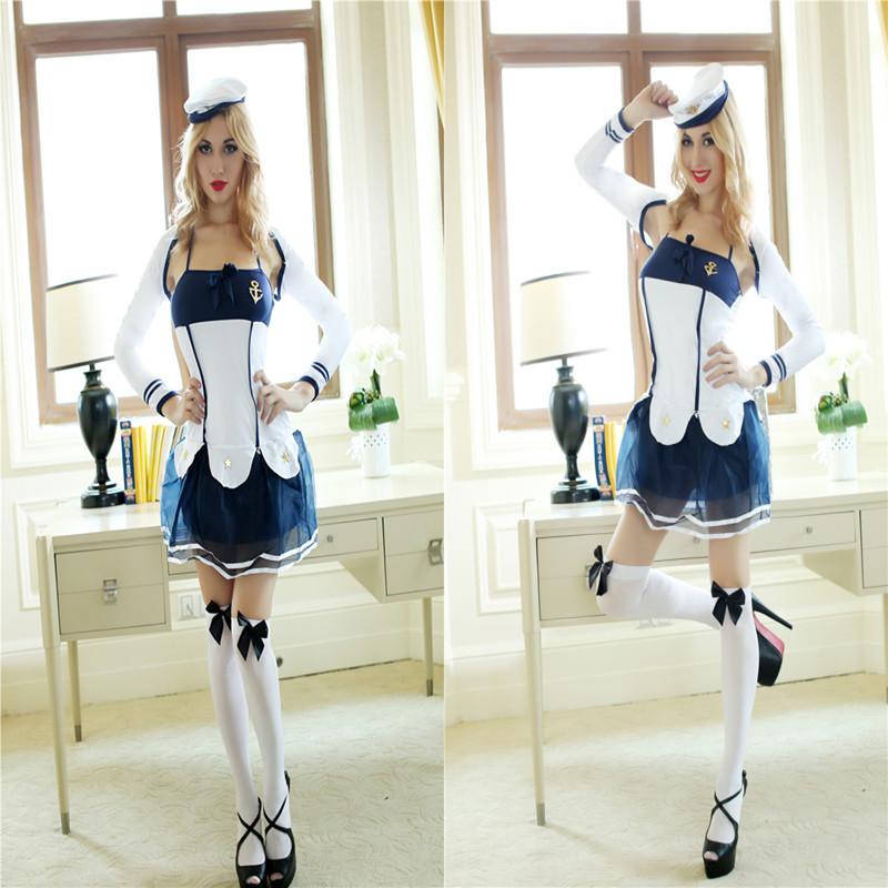 frete grátis venda quente 2014 marinha marinheiro branco& azul marinho vestido de princesa sexy halloween traje cosplay estágio roupas desempenho(China (Mainland))