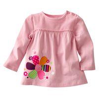 6pcs/Lot Free shipping Wholesale pink spring autumn cotton t shirt girl basic long sleeve  t shirt