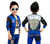 sz90~130 Autumn baby boys clothing set child Jacket+T-shirt+pants 3pcs suit children clothes set kids tracksuits leopard head