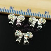 20pcs/lot 8x10mm Cute Boutique Bow Tie Crystal AB Rhinestones Silver Tone Metal Alloy 3D Salon Nail Art Jewelry DIY Decorations