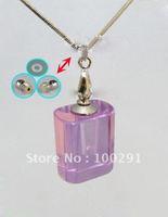 Bulk hot selling crystal necklace AQE09 /Perfume bottles pendantnecklace /essential oil bottle transparent square shape