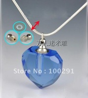 Bulking magic  Aromatherapy necklace blue Crystal pure oil bottle necklace vial bottle heart pendant DFG08, free ship!!!!