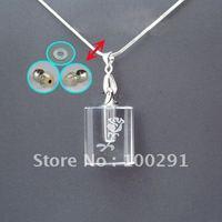 Bulk ## hot sell crystal necklace AQE11 /Perfume bottles pendant necklace /essential oil bottle transparent square shape