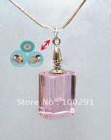 Bulk ## hot sell crystal necklace AQE12 /Perfume bottles essential oil bottle transparent square shape