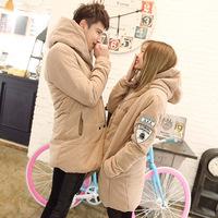 2014 winter lovers Korean fashion double-breasted hooded cotton coat man windbreaker jacket warm outdoors men down-jacket