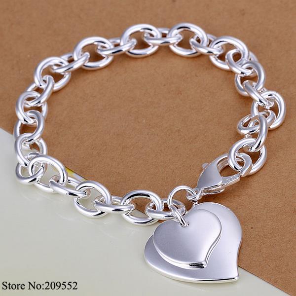 H279 Wholesale 925 Silver Bracelet,925 Silver Fashion Jewelry double heart shrimp buckle silver O chain bracelet(China (Mainland))