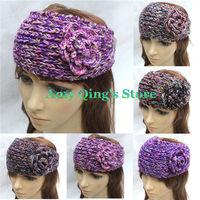 Multicolor style knit hair band ear warm wool yarn crochet flower headband/head wrap,wholesale women hair accessories 14colors