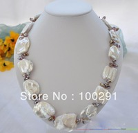 "22""l HUGE 38mm baroque white REBORN PEARL crystal NECKLACE MOON 4800147"