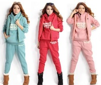 Winter Women's Leisure Sport suit Korean Hooded Fleece Sweater Thick high quailty women's sweatshirt Letters hoody 3pcs/set
