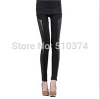 New arrival K373 2014 autumn leggings women fashion black faux leather patchwork cotton slim pencil pants wholesale and retail