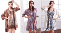 2014 Autumn noble household sexy two-piece silk pajamas Robe and Sling Set V-Neck Free Shipping Hot Sales