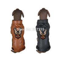 Hotsale Fashion Pet Dog Jacket Leather For Large Dogs Eagle Tattoo Applique Dog Leather Coat free shipping
