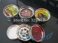 Free shipping 6pcs/lot (dia 5.3cm) 3-layer Metal herb grinder Tobacco Grinder Machine manual Gift Promotion GR038