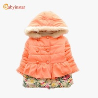 2014 New Girls Thick Hooded floral Jacket Coat: Baby Warm Double-breasted Cotton Outwear Padded Parkas Top Quality