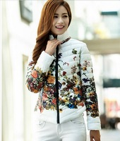 2014 winter and spring new fashion slim cotton prints design women Floral wadded jacket cotton-padded jacket parka XL XXL XXXL