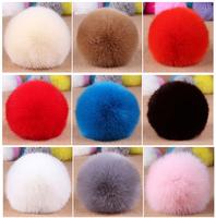 Wholesale 12pcs Faux Rabbit Fur Fluffy  Pom Pom Balls Mobile Chain Straps Handbag Chains Key Chains