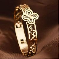 5.8cm Luxury Brand clover titanium men's vintage jewelry bracelets BR178