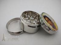 Free shipping 6pcs/lot (dia 5.2cm) 3-layer Metal herb grinder Tobacco Grinder Machine manual Gift GR096