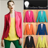 New 2014 Blazer Women casacos femininos Basic Jackets women blazer slim coat Candy Color Blazers suits for women cardigan casaco