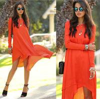 2015 Autum EU styles with the fall fashion long sleeved loose irregular Chiffon Dress