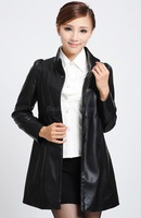 2014 New Fashion Middle-Aged Leather Clothing Black 5XL,6XL Long Red Womens Leather Jackets and Coats