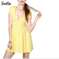 Summer dress women sexy deep neck modal short sleeve casual knitted dress slim pleated mini dresses vestido  SD2443