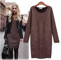 New 2015 Winter dress fashion plus size clothing Sweater long dress plus velvet long-sleeve dress M-XXl Free Shipping