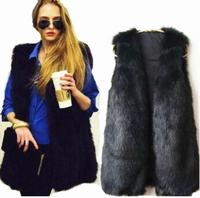 2014 autumn Women Faux Fur Vest Winter Long Vest Sleeveless Luxury Fur Coat Elegant Waistcoat Plus Size 2XL/3XL Fur Vest jacket