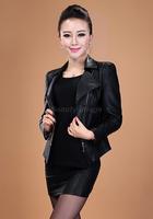 M,L,XL,XXL,XXXL,XXXXL 2014 New Korean Woman Short Slim Coat Black Blue Ladies Leather Jacket Women
