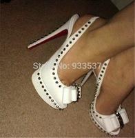 Brand Clou Noeud Spiked Slingback Pumps Red Bottom Heels