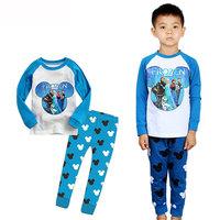 Children Clothing Sets Boys Girls Long Sleeve Pajama Sets Toddler Baby Pajama Sleepwear Suit Cartoon Frozen 1-7Y